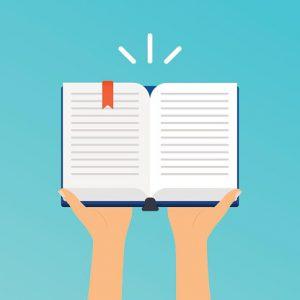 Hands holding an open book.  Flat design modern vector illustrat