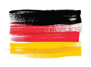 Germany colorful brush strokes painted flag Berlin