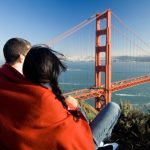 Couple overlooking Golden Gate Bridge in California