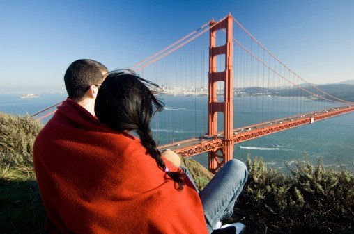 Couple overlooking Golden Gate Bridge in California