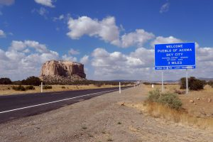 The Welcome sign of Acoma Pueblo, Sky City in New Mexico