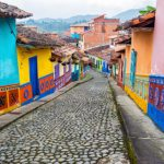 Colorful Cobblestone Street south american