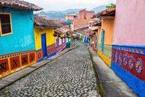 Colorful Cobblestone Street south american