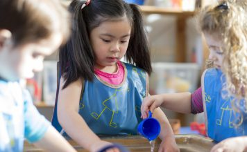 Young children wearing aprons are playing with a water table together in nursery.