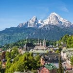 Historic town of Berchtesgaden with Watzmann mountain, Bavaria, Germany