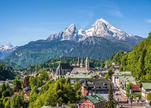 Historic town of Berchtesgaden with Watzmann mountain, Bavaria, Germany