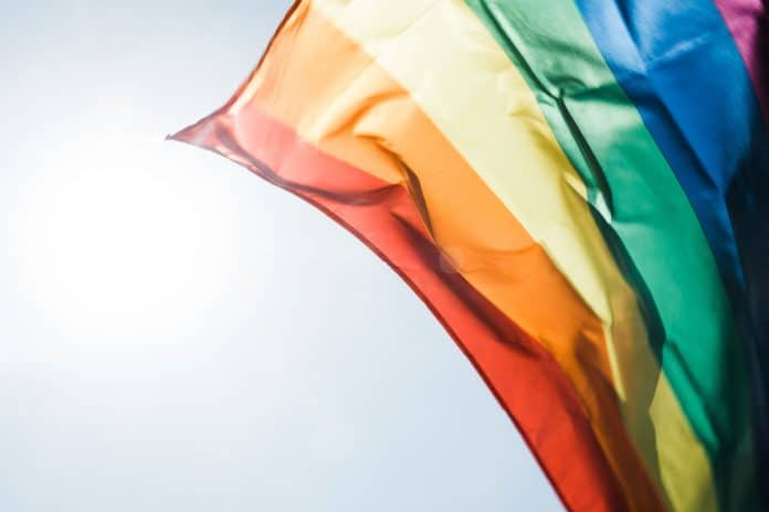 rainbow flag lgbt waving