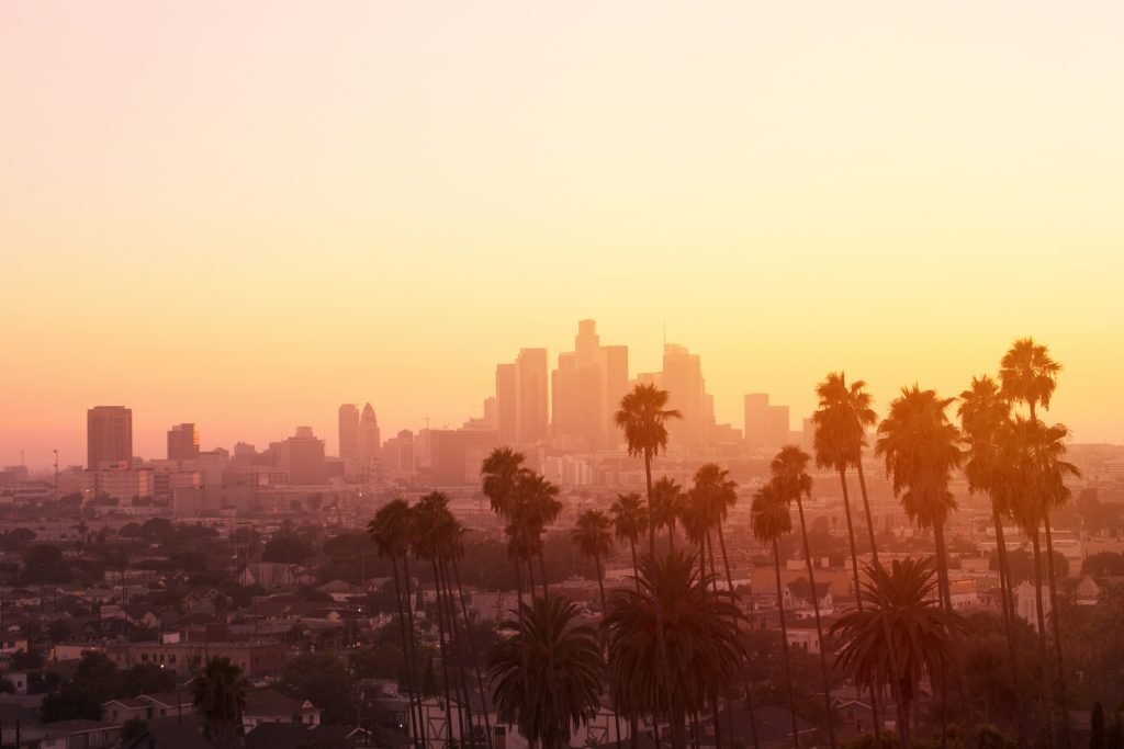 Downtown Los Angeles skyline framed by palm trees at sunset.