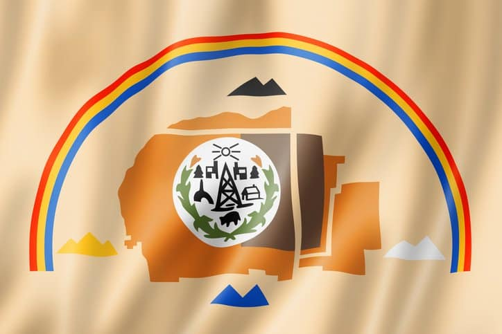 Ethnic flag of the the Diné (Navajo) Nation where COVID-19 has spread rapidly