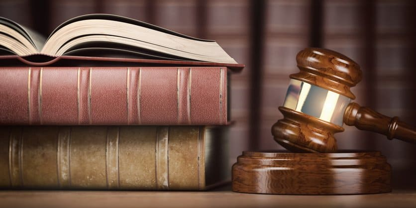 Judge's gavel and books. 3d illustration