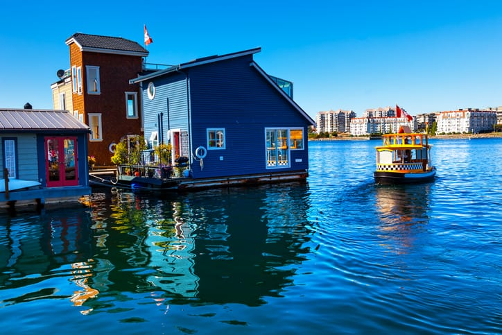Floating Home Village Blue Houseboats in Victoria, British Columbia, Canada