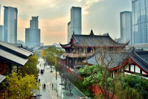 Chengdu street scene showing old and new (Temples, Shopping District, and Modern City Center) - China