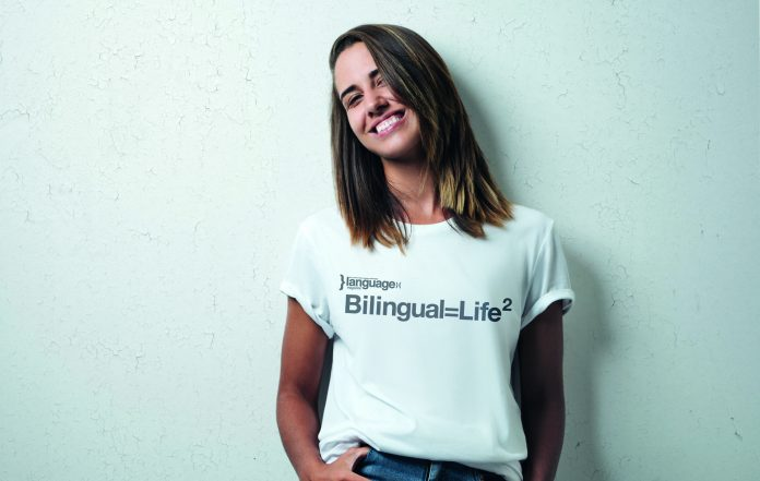 "Girl wearing ""Bilingual = Life Square"" T-shirt"