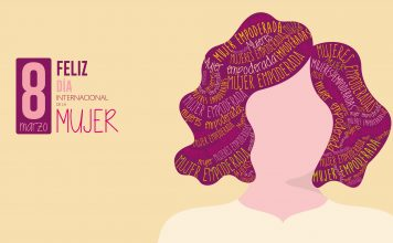 Greeting Card FELIZ DIA INTERNATIONAL DE LA MUJER - HAPPY INTERNATIONAL WOMEN S DAY in Spanish language Silhouette of woman with purple hair filled with the words EMPOWERED WOMAN on yellow background